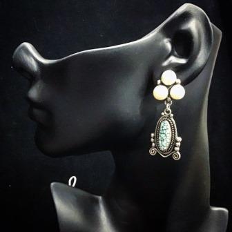 EAR TURQ & PEARL LRG