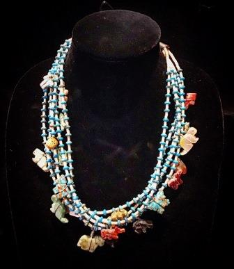 NECK FET 5 STRAND ASRT ANIMALS TURQ & HESHI BEADS