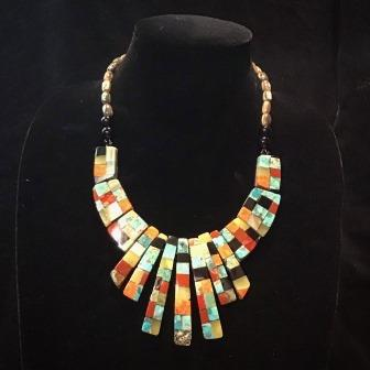 NECK INLAY ASRT STONES W SHELL BACKING & SHELL BEADS