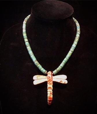 NECK DFLY W TURQ SPINEY & PINK CLAM SHELL WINGS