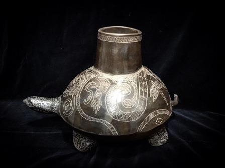 POT TURTLE BOTTLE HAPPY EFFIGY