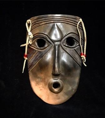 MASK CLAY W COPPER WIRE & BEADS LRG