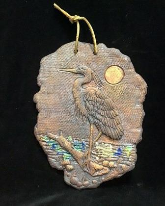 CLAY HERON W STAINED GLASS