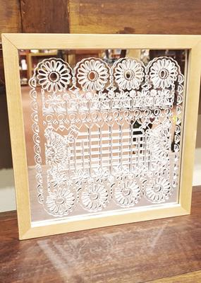FLOWER MIRROR LASER CUT FRAMED
