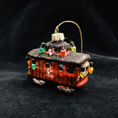 ORN HOLIDAY PAINTED GLASS CABOOSE,03/9028