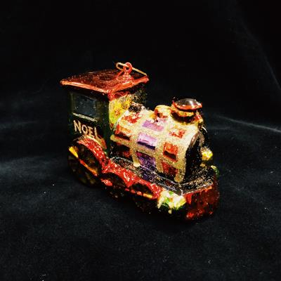 ORN NOEL ENGINE WITH PAINTED GLASS & GLITTER,03/8687
